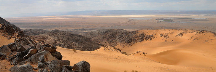 Abu Barqa Dam Lookout - View over Wadi Araba and Israel From the Top of the Sand Dunes - Hiking in Jordan.