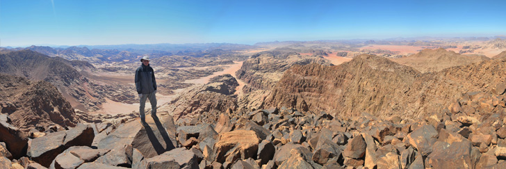 Adami Trail in Wadi Rum - On the Summit at 1,854 meters or 6,083 foot - Hiking in Jordan.