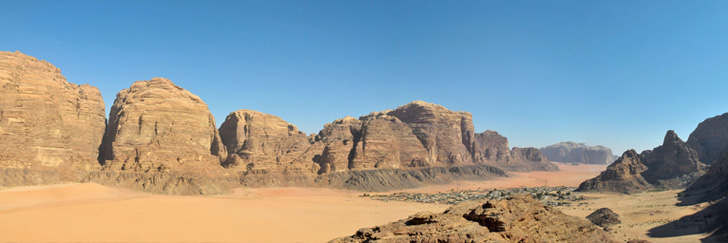 Nabatean Temple Trail - Wadi Rum Village Seen from the Trail - Hiking in Jordan..