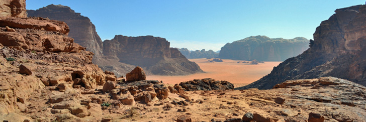 The Lawrence of Arabia Spring in Wadi Rum - Magnificent Views on Top of the Trail - Hiking in Jordan.