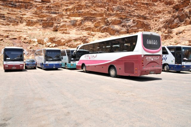 07 Nabatean Temple Trail -  Buses at the Parking Lot in Wadi Rum Village